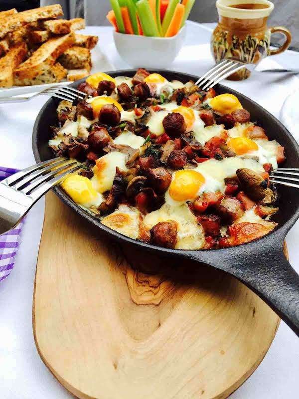 Enjoy This Filling And Tasty Breakfast: Quail Eggs, Mushrooms And Bacon, A Truly Wonderful Treat.