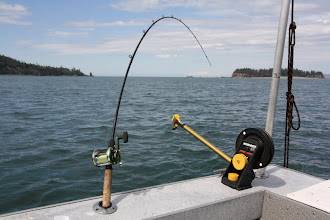 Photo: rod bent tight and clipped to the thing on the right with has a 12 pound ball and a guage to drop it down to whatever feet u want. what a set up. not like fishin on a lake on the east coast.