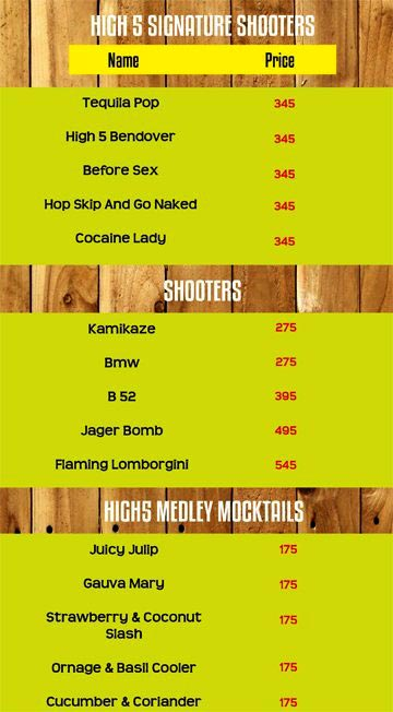 High 5 Cafe menu 12