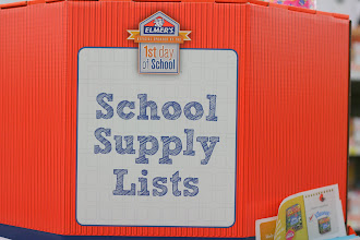 Photo: Elmer's had a great little set up for lists of school supplies from area schools.