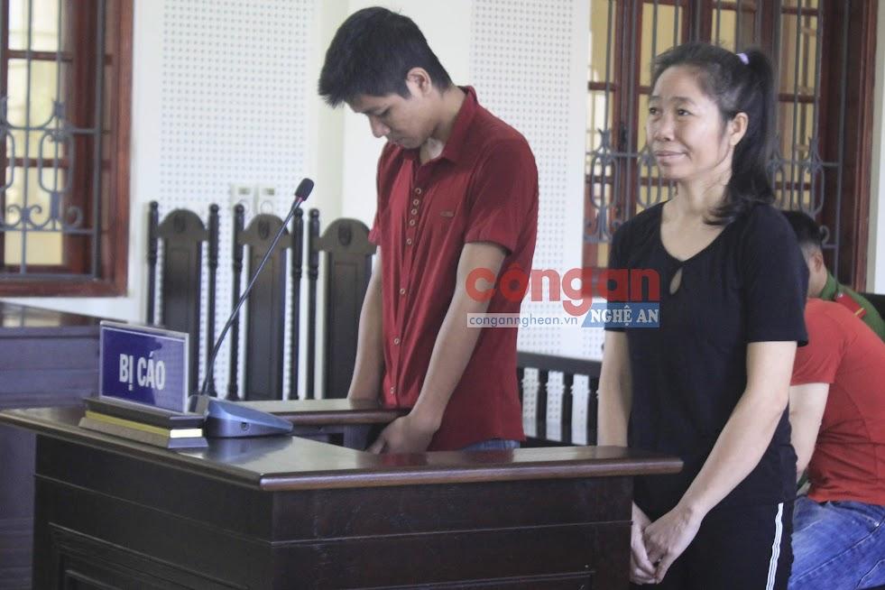 Bị cáo Ven Văn Thảo và Lữ Thị Mai tại phiên tòa