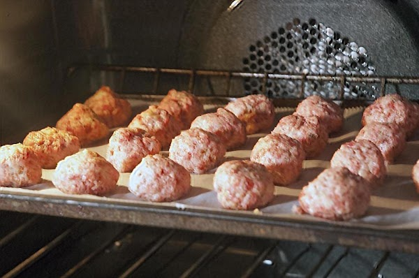 Place the meatballs in the oven, and cook for 12 minutes.