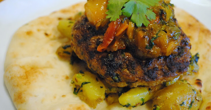 ... with Fresh Mango Chutney Wrapped in Garlic Naan for #BurgerMonth2016