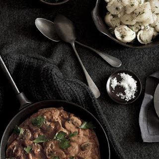 Beef Stroganoff with Smashed Chive Potatoes