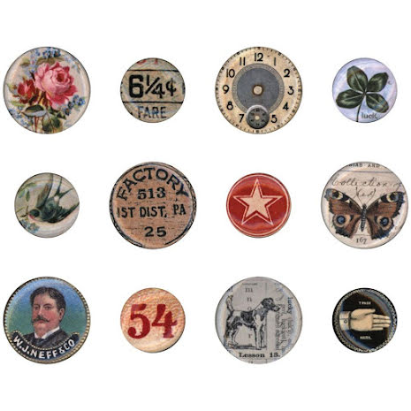 Tim Holtz Idea-Ology Mini Flair Buttons 12/Pkg