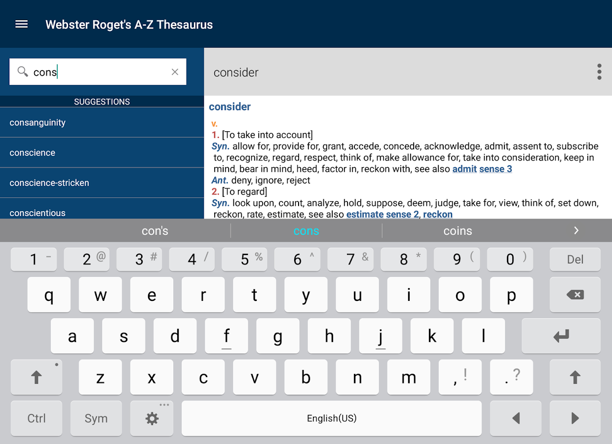 Webster's Thesaurus- screenshot