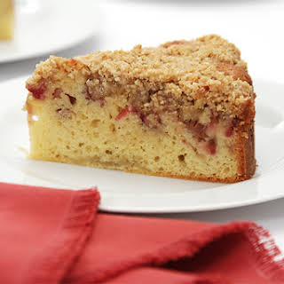 Rhubarb And Oat Crumb Cake With Fresh Ginger.