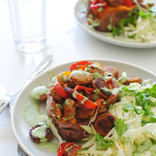 Baked Sweet Potatoes with Chicken Sausages, Sweet Peppers and a Cilantro Sauce