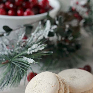 Orange Walnut Macarons with Spiced Cream Cheese and Cranberry Filling.