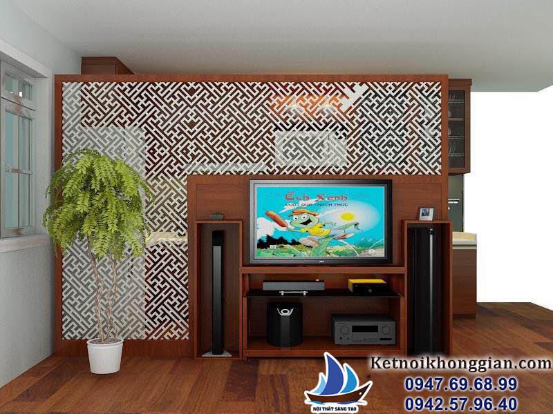 thiết kế nội thất phòng khách và phòng bếp nhà chị An