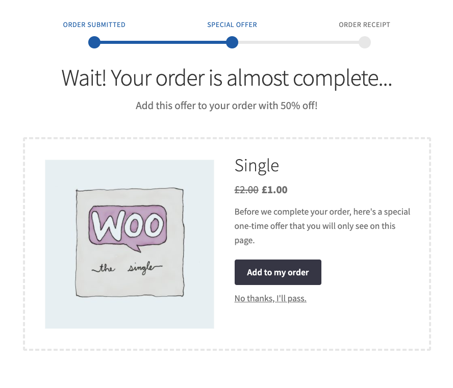 after checkout offer WooCommerce