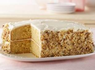 Remove cake from the pan. Carefully cut the cake crosswise in half using a...