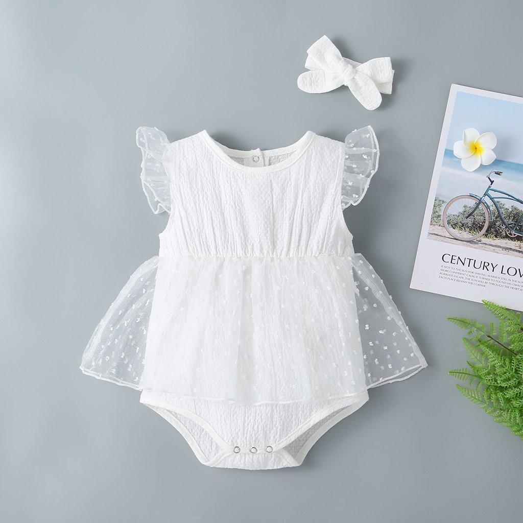 Wedding - Baby Girl Tulle Flying Sleeves White Dress Romper