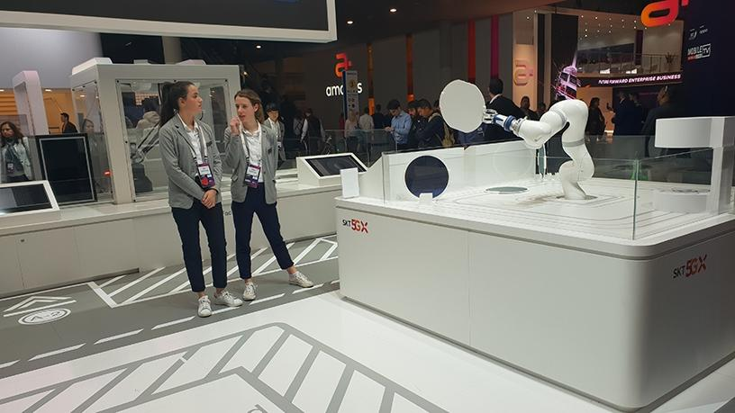 South Korean operator, SK Telecom, showcasing its 5G-connected factory robotic solutions.