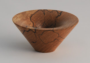 "Photo: Phil Brown 2 5/8"" x 1 1/4""  mini vortex bowl [beech from Robin Wood pole lathe core]"