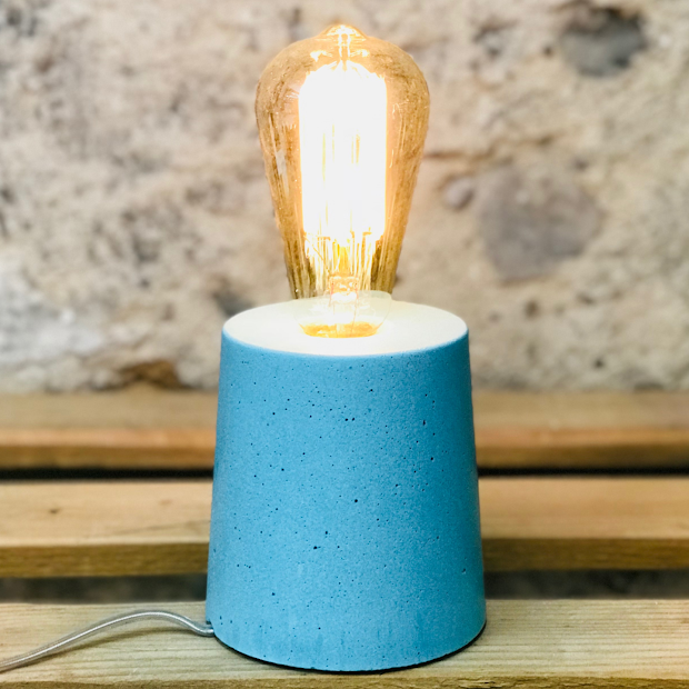 lampe béton turquoise design fait-main création made in france Junny