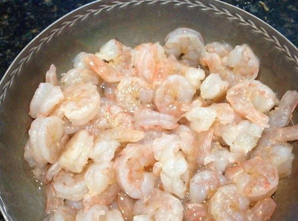 Season shrimp with salt and pepper, rubbing until mixed well.  Add shrimp to...