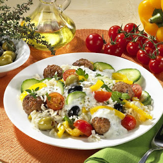 Greek Salad with Rice and Meatballs.