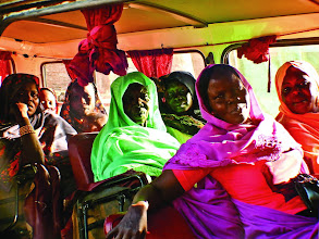 Photo: a minibus full of women going to a pre-wedding party