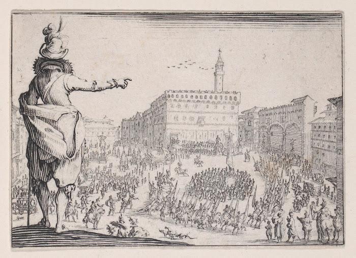 Jacques Callot, Piazza della Signoria (Man met gepluimde hoed bij de Piazza della Signoria te Florence, 1617