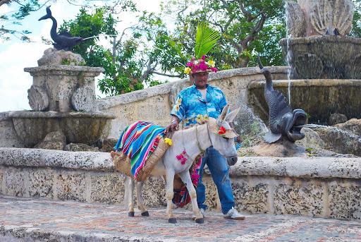 Altos-de-Chavon-vendor-donkey - A vendor with his donkey at Altos de Chavon in  La Romana, the Dominican Republic.