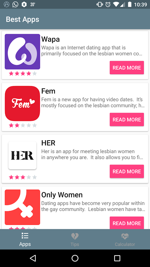 lesbian dating apps for android The best queer and lesbian dating apps 1) her her is an award-winning app specifically created for queer, bisexual, and lesbian women that combines dating with an event feature so you can find love and a queer beach party.