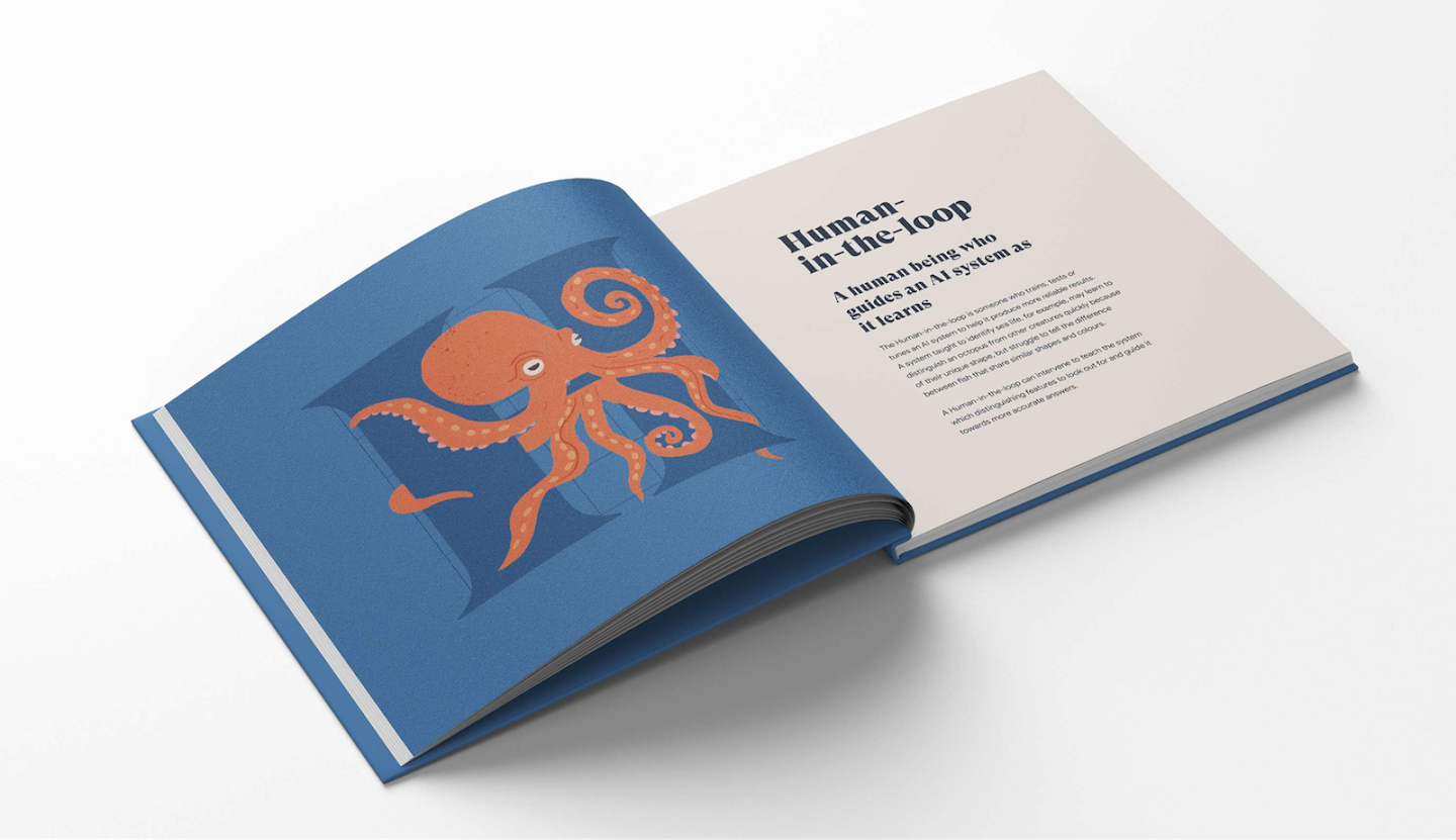 Illustration and article layout in printed book format