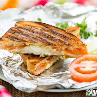 Grilled Cheese Sandwich With Onions, Tomatoes & Cucumbers.