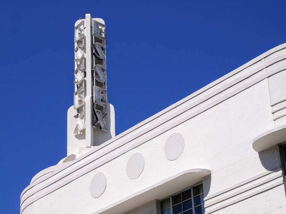 A closer look at an art deco building in Miami.