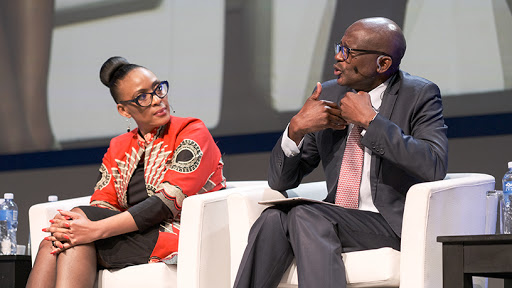 Microsoft SA MD Lillian Barnard and SITA acting CEO Ntutule Tshenye participate in a panel discussion at GovTech 2019.