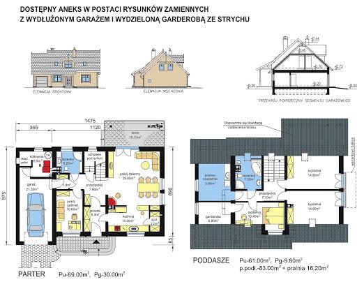 BW-17 z garażem jednostanowiskowym - Rzut parteru i poddasza - propozycja adaptacji - wersja z wydłużonym garażem