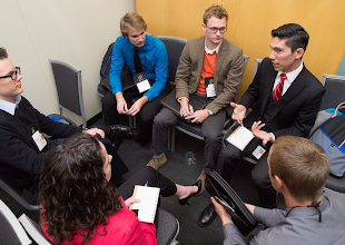 Photo: Students discuss the business of the Association.