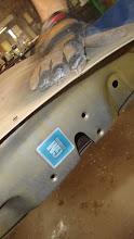 Photo: The original GM door decal, soda blasting can be very gentle