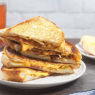 Fancy Grilled Cheese with Caramelized Onion, Apples, and Bacon.
