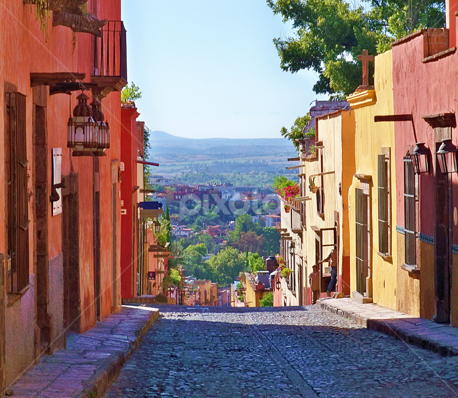by John Kolenberg - City,  Street & Park  Neighborhoods ( san miguel de allende, cities, towns, mexico, gto, cobblestone streets, colonial cities, historic, pwcskylines, hdr,  )
