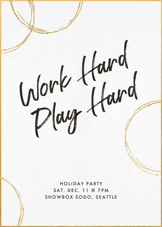 Work Hard & Play Hard - Christmas Card Template