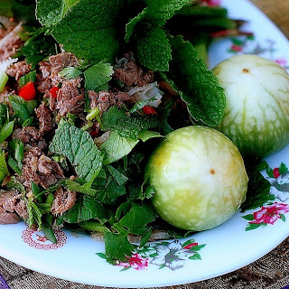 Celebrating with Good Fortune Lao Beef Salad {Larb}.