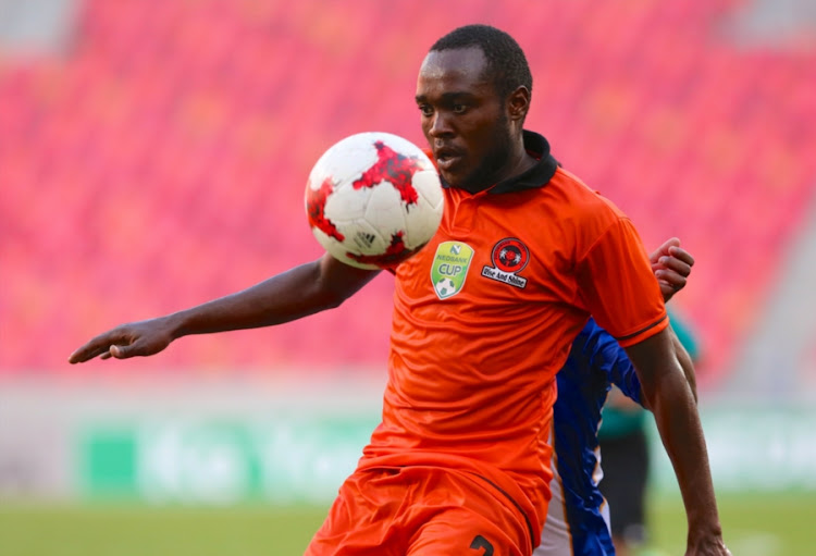 South African football fraternity is mourning the passing away of Polokwane City player Mogau Tshehla, pictured here during the Nedbank Cup last 16 match against Chippa United at Nelson Mandela Bay Stadium on April 08, 2017 in Port Elizabeth, died in a car accident on Monday February 12 2018, the Premier Soccer League club confirmed.   South Africa.