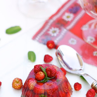 Wild Strawberries in Prosecco Jelly with Elderflower Syrup