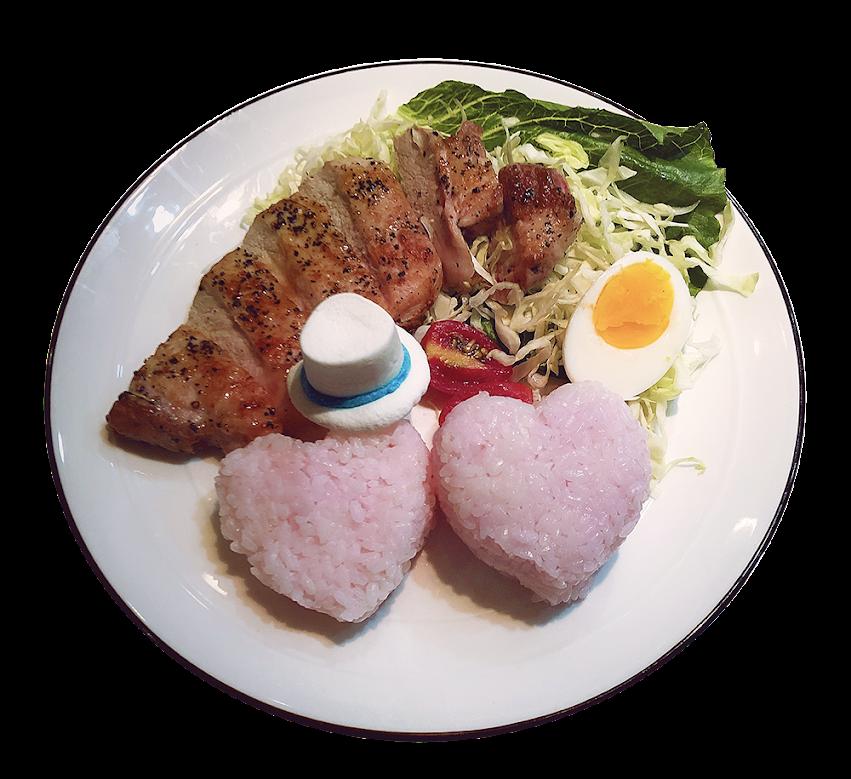基德café限定餐點-心心相映 風味豬排飯