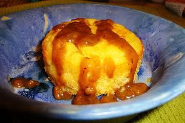 Cornbread Puddle Cakes w/ Savory Gingersnap Gravy