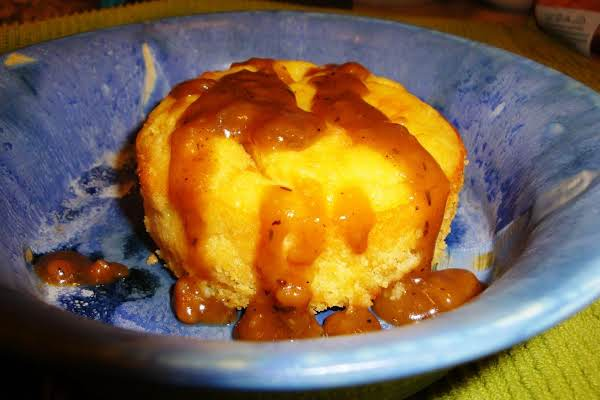 Cornbread Puddle Cakes W/ Savory Gingersnap Gravy Recipe