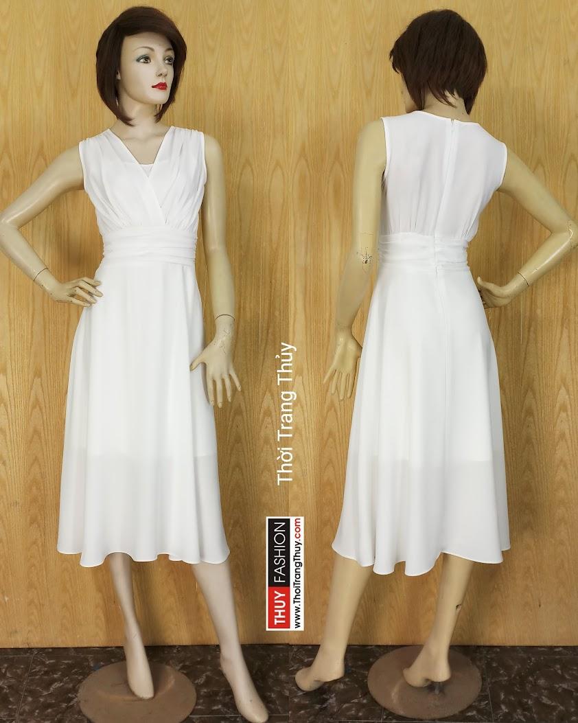 Váy xòe dự tiệc cổ chữ V vạt chéo xếp nhún V595 tại Hải Phòng
