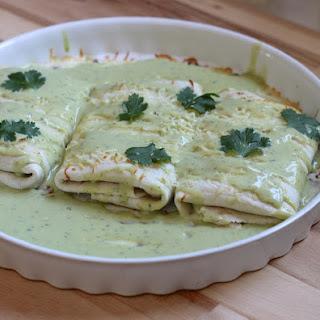 Chicken Enchiladas With Avocado Cream Sauce.