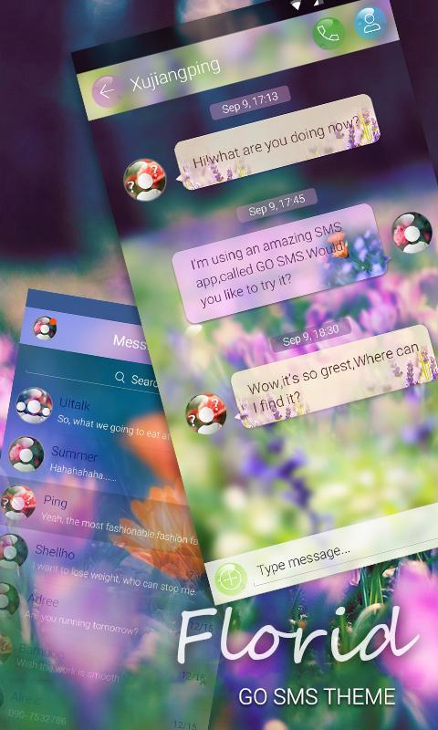Скриншот GO SMS PRO FLORID THEME