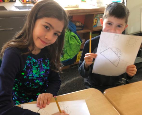 3rd Graders making artwork
