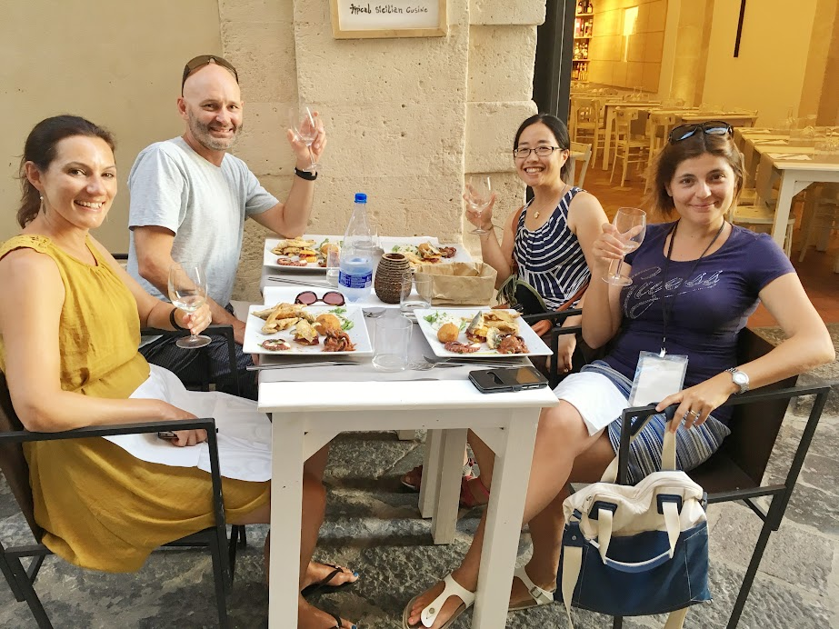 With Sicily Activity guide, Elisa, and honeymooners from New Zealand