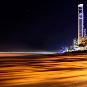 Surfers Paradise by Adz King - Landscapes Starscapes ( #surf #night #photography #queensland #beach )