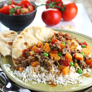 Beef Curry with Sweet Potato and Peas.
