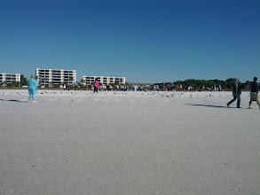 Photo: A bunch of retirees doing yoga on the beach at 9 a.m.